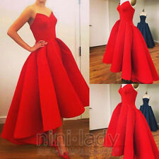 Stock Taffeta High Low Women Prom Gown Evening Party Cocktail Dresses Size 6-16