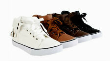 Women NEW High Top Low Heel Punk Rock Buckle Lace Up Fashion Shoes Sneakers