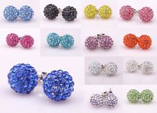 Shining Crystal Paved Disco Ball Beads Studs Earrings 10mm Pick Colors New