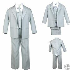 Baby Toddler Teen Boys New Wedding Formal Party Tuxedo Suit Silver Lt. Gray S-20