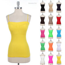 Seamless Adjustable Removable Spaghetti Strap Built In Bra Pad Tank Top Camisole