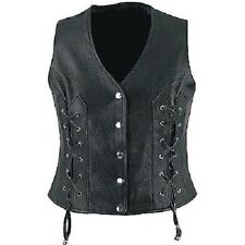 Very Sexy Pure Leather  Ladies Waistcoat / Vest With Detailed Side Lacing (W4)