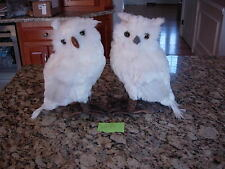 "61583 13 Inch "" Faux Feather Owl  Christmas Holiday snow figures Halloween"