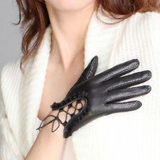 Women's GENUINE LAMBSKIN comfortable perforated leather gloves laced up