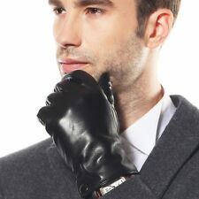 Classic Men's Italian nappa leather driving winter warm gloves plain style
