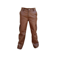 SEXY MENS REAL BROWN SKIPPER LEATHER 6 POCKETS CARGO PANTS JEANS -(CARGO2-BRW)