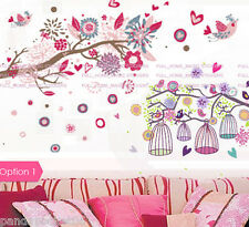 COMBO Flower Tree&Bird Cages Wall Stickers Removable Vinyl Decal Girls Kids Room