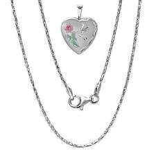 "925 Sterling Silver Heart Locket Pendant on Dragon Silver Chain 16"", 18"", 20"""