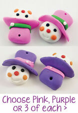 6 pcs Pink or Purple Polymer Clay Snowman / Snowlady Charms - 24mm - Christmas