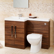 Walnut Modern Bathroom Furniture Toilet WC Wash Basin Storage Combination Unit