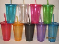 Double Walled 16 oz Tumblers - Travel Cup/Mug w/ Lid & Straw BPA Free CLEAR Cups