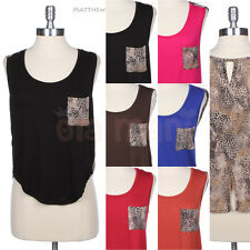Unique Solid Front Animal Print Back and Chest Pocket Sleeveless Tank Top Cute