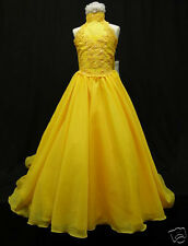 Yellow Pageant Wedding Flower Girl Formal Party Long Dress 3 4 5 6 7 8 10 12 14