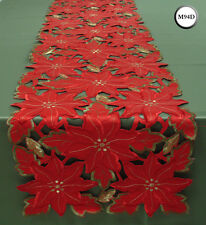 New Embroidered Christmas Poinsettia Red Green Gold Cutwork Placemat M94D