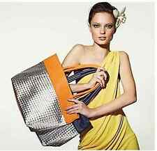 Saks Fifth Avenue Large Silver Orange/Navy Woven TOTE BAG~NEW