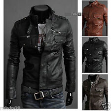 NWT Men's Punk Bomber Biker Motorcycle Slim Fit Faux PU Leather Jacket Blazer