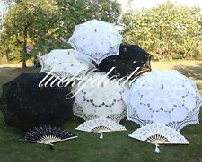 Hot Handmade Cotton Lace Parasol Umbrella Hand Fan Bridal Wedding Birthday Party