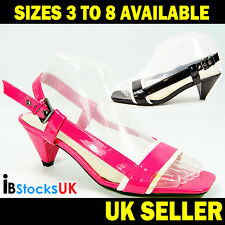 Ladies Womens Girls Mid Heels Casual Sling Back Shoes Size 3 4 5 6 7 8 J-403