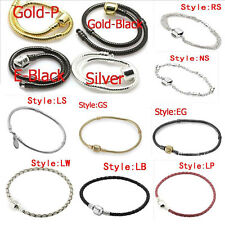 15 Colors Sterling Silver Charm Bracelets fit European Beads 17-23cm