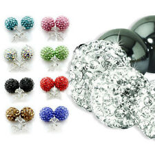 10MM EARRINGS STUD SHAMBALLA CZECH CRYSTAL BALL BRACELET LADIES WATCH MENS NEW
