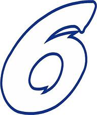 """x1 4"""" Digit  (MORE in EBAY SHOP) Race Numbers vinyl stickers Style 2 White/Dblue"""