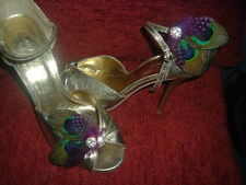 Two PEACOCK FEATHERS with Guinea Accent choice with Diamante Crystals Shoe Clips