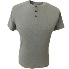 French Connection Mens Crew Neck T Shirt 3 Button FCUK Short Sleeve Grey