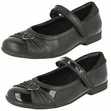 GIRLS CLARKS DOLLY HEART BLACK LEATHER PATENT RIPTAPE FLAT SCHOOL SHOES SIZE 9-4