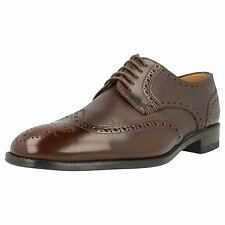 MENS LOAKE BROWN LACE UP FULL DERBY BROGUE GRAIN LEATHER LACE UP SHOES ARLINGTON