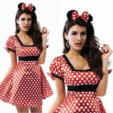 Sexy Minnie Mouse Adult Party Night Ladies Halloween Fancy Dress Costume M L XL