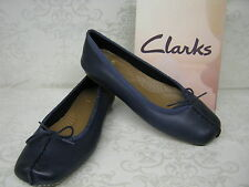 Clarks Freckle Ice Navy Blue Leather Casual Slip On Shoes