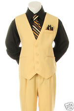 New Boys Wedding Holiday Graduation Formal Vest Suit Yellow/Black,sz: 8,10,12,14
