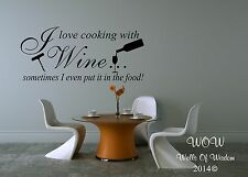 Beautiful Quotations I Love Cooking With Wine Wall Sticker / Wall Art Home Decor