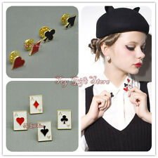 Chic POKER Stud COLLAR TIP BROOCH Hat Decorative Pin