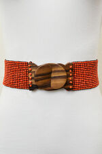 Colorful Beaded Belt with Wooden Buckle