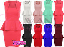Ladies Square Neck Slim Effect Peplum Frill Bodycon Womens Dress Dresses Skirt