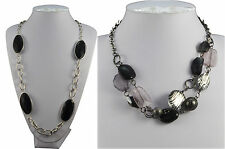 """SILVER TONE CHAIN WITH CHUNKY BLACK FACETED BEAD LONG 36"""" OR SHORT 16"""" NECKLACE"""