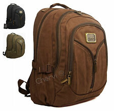 "Mens Womens Canvas Outdoor Gear 15"" Laptop Backpack Rucksack  Bag Hand Luggage"