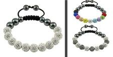 11 Genuine Crystal Balls SATURN SHAMBALLA BRACELET - White, Silver, Grey, Gold
