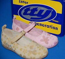 TTY Girls Elody Butterfly Print Leather Shoes Rose or Beige BNIB