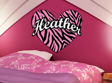 Zebra Stripe Heart Vinyl Wall Decal Sticker Custom Colors!