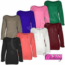 New Ladies Womens Oversized Knit Long Sleeved BaggyTop Casual Look Jumper Tops