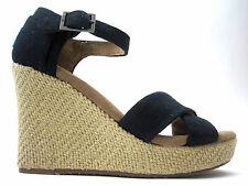 Toms Women's Strappy Wedge Black Canvas NIB Sizes 5-10