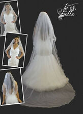 Ivory/White 2 Tier Cathedral Veil Curly Rattail Edge Extra Long Scatter Crystals