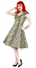 Alternative 50's Vintage Style Yellow Leopard Flocked Party Prom Dress New  8-18