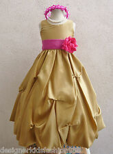 GOLD RED DARK PINK PURPLE PLUM PAGEANT PARTY FLOWER GIRL DRESS 2 4 6 8 10 12 14