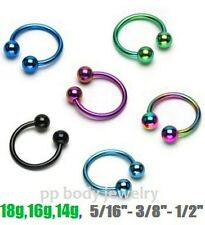 "2pcs. 18g,16g,14g~1/4""- 1/2"" Anodized Horseshoe Circular Barbell Septum Earrings"