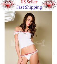 SEXY WOMEN LADY GIRL OFF SHOULDER TOP RUFFLE LACE TRIM +THONG LINGERIE UNDERWEAR