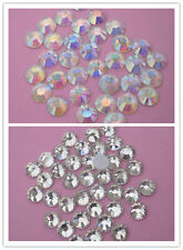 144pcs AAA CLear Crystal AB 8mm Flat Back Rhinestones silver-plated bottom ss40
