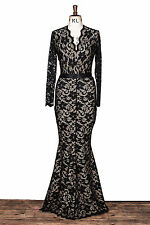 Baylis and Knight L/S Low Cut Lace FISHTAIL Long Maxi Wiggle PENCIL Hobble Dress